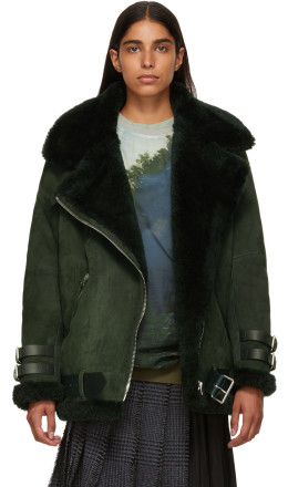 Acne Studios - Green Suede & Shearling Velocite Jacket