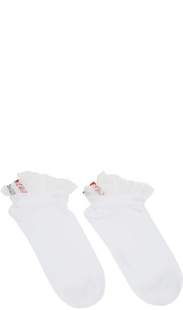 Thom Browne - White Lightweight Cotton Lace Trim Socks