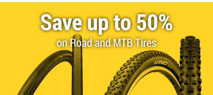 Save up to 50% on the Biggest MTB and Road Tyres