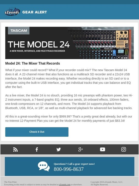 zZounds: Model 24: A New Mixer and Recorder from Tascam | Milled