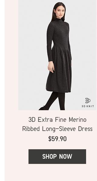 3D EXTRA FINE MERINO RIBBED LONG-SLEEVE DRESS $59.90