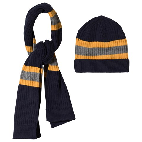 Mayoral Navy And Yellow Stripe Knitted Beanie and Scarf Set