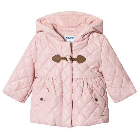 Mayoral Pink Quilted Hooded Coat