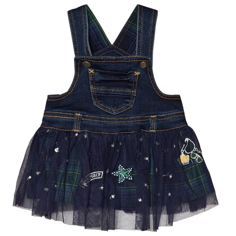 Mayoral Navy Denim & Check Tulle Dungaree Dress