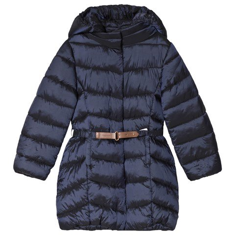 Mayoral Navy Longline Padded Coat with Belt and Hood