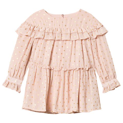 Mayoral Pink & Gold Spotted Ruffle Dress