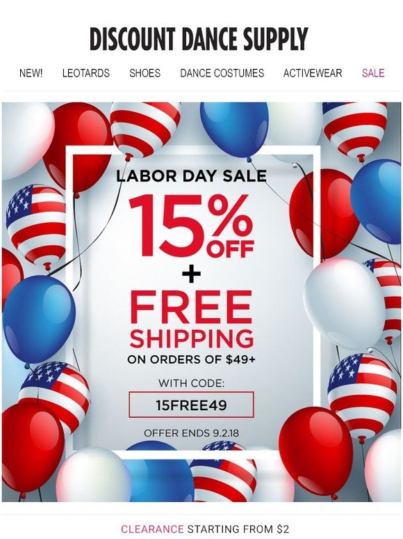 Discount Dance Supply: Exclusive Labor Day Offer: Get 15