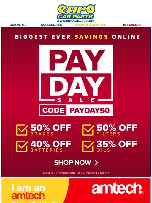 Euro Car Parts Pay Day Sale Just Got Bigger Save On Am Tech