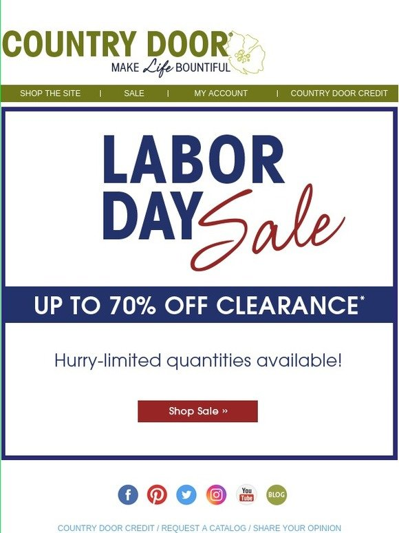 Country Door Labor Day Sale Starts Now Milled