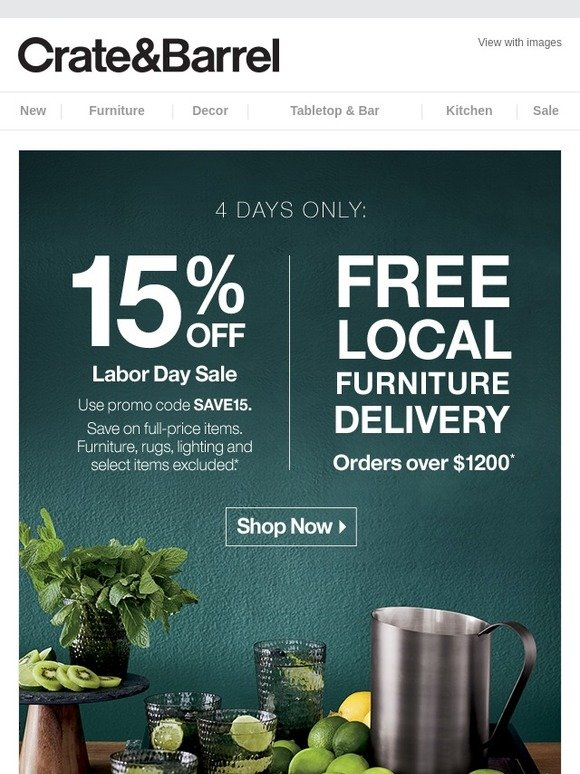 crate and barrel coupons august 2019