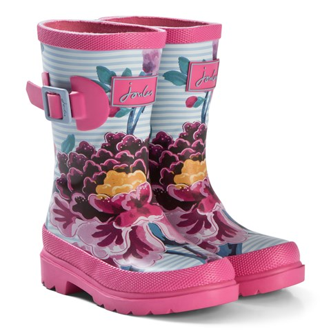 Joules Pink Stripe Floral Wellington Boots