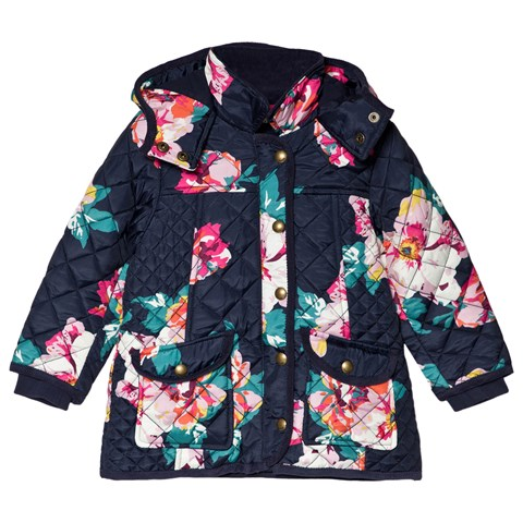 Joules Navy Floral Briar Quilted Jacket
