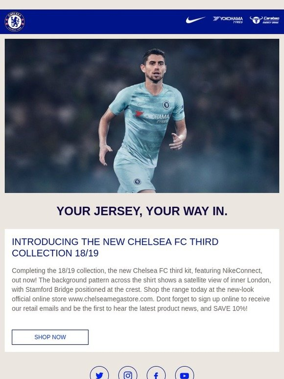 6573c0d86 Chelsea Megastore  Introducing the Chelsea Third Kit Featuring NikeConnect