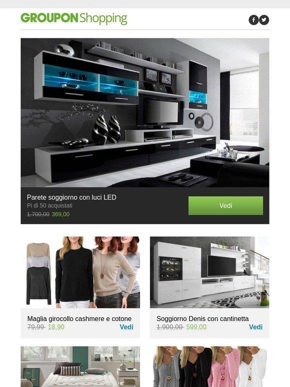 Groupon IT: Parete soggiorno con luci LED, Maglia girocollo cashmere ...