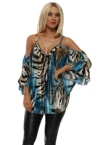 Blue Animal Print Pleated Sateen Cold Shoulder Top