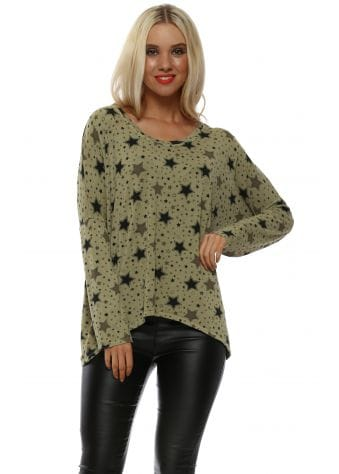 Laura Star Print Olive Long Sleeve Top