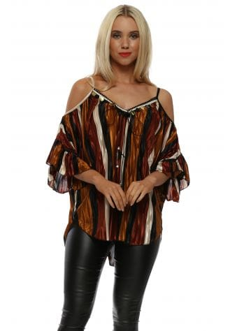 Bronze Stripe Pleated Sateen Cold Shoulder Top