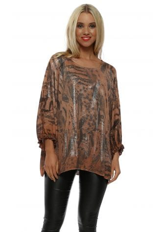 Copper Metallic Feather Print Top