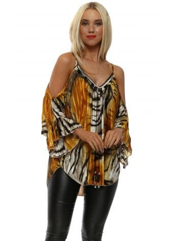 Amber Animal Print Pleated Sateen Cold Shoulder Top