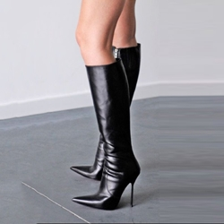 2dc6780f8e2f Shoespie Stylish Black Pointed Toe Stiletto Heel Knee High Boots