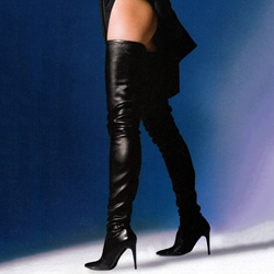 cf03cb3bdbf6 Shoespie Sexy Black Pointed Toe Over the Knee Stiletto Boots