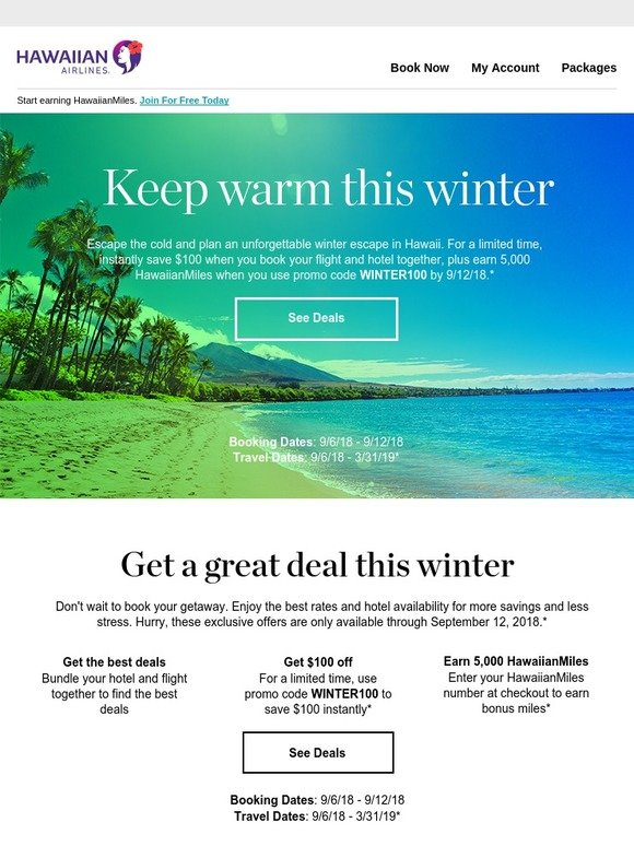 hawaiian airlines save 100 on a winter getaway to hawaii plus