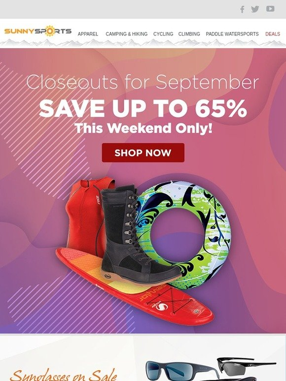 c7c10fe02e Sunny Sports  September Closeouts - Act Fast   Save Big!