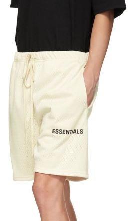 Essentials - White Mesh Logo Shorts