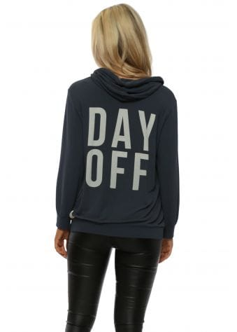 Grey Day Off Puffball Sleeve Hoodie