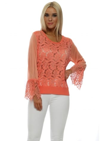 Eddie Melon Lace Top With Sheer Mesh Sleeve