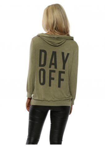 Olive Day Off Puffball Sleeve Hoodie