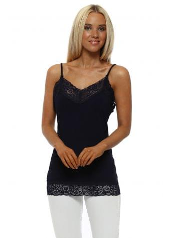 Ling Ling Lace Trim Strappy Vest In Navy