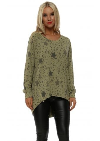 Lizzy Olive Star Zip Sweater