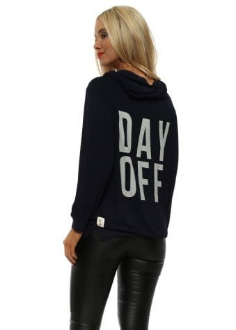 Navy Day Off Puffball Sleeve Hoodie
