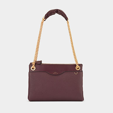 Double Zip Chain Bag in claret