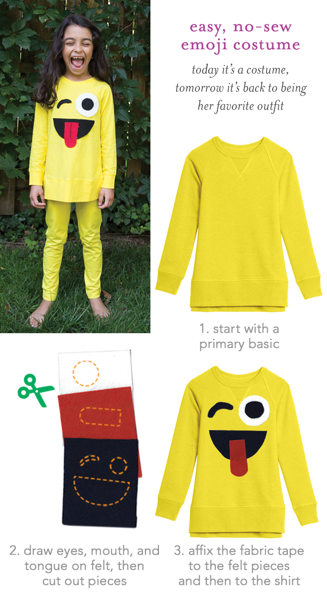 easy no-sew emoji costume: today it's a costume, tomorrow it's back to being her favorite outfit! step 1) start with a primary basic. step 2) draw eyes, mouth, and tongue on felt, then cut out pieces. 3) affix the fabric tape to the felt pieces and then to the shirt.