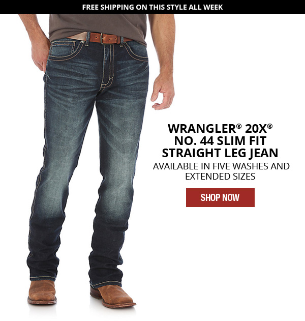 c4e7c4e2 Wrangler 20X NO. 44 Slim Fit Straight Leg Jean. Available in five washes and