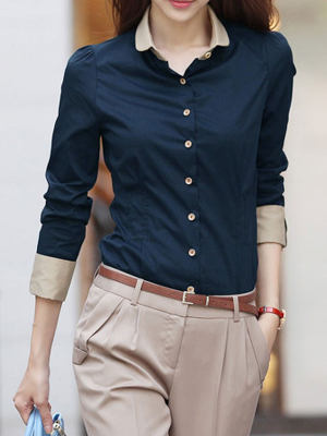 ab4822d8114f1 Summer Polyester Women Turn Down Collar Single Breasted Plain Long Sleeve  Blouses