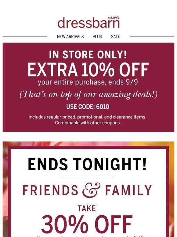 dress barn text coupon code