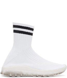 Maison Margiela - White & Black Sock High-Top Sneakers