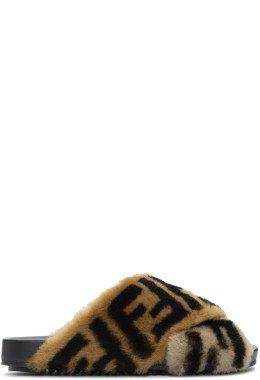 Fendi - Brown Shearling 'Forever Fendi' Criss Cross Slides