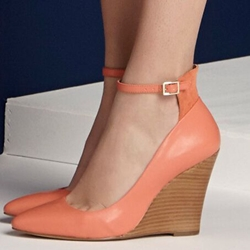 7eb1d11c13b Shoespie Orange Ankle Wrap Wedge Heels