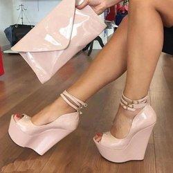 000704bccae Shoespie Peep Toe Line-Style Buckle Wedge Heels