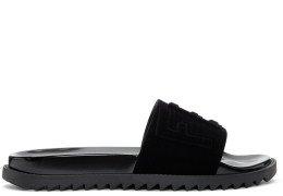Fendi - Black Flocked Logo Slides