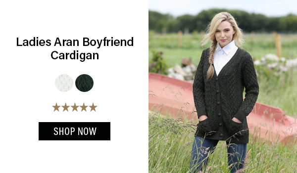 Ladies Aran Boyfriend Cardigan