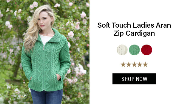Soft Touch Ladies Aran Zip Cardigan