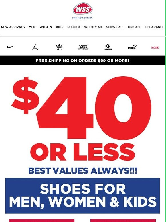 check out 545d4 9a641 Shoes Under  40 + New Coupon Inside! Bring to Store or Use Online.