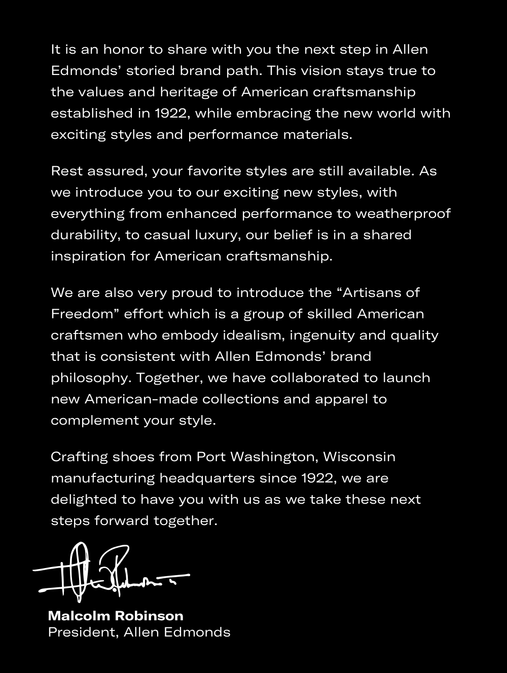 A Letter From The President of Allen Edmonds
