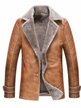 2fa1b4c040 Tidebuy Plain Lapel Button Warm Men s Leather Jacket