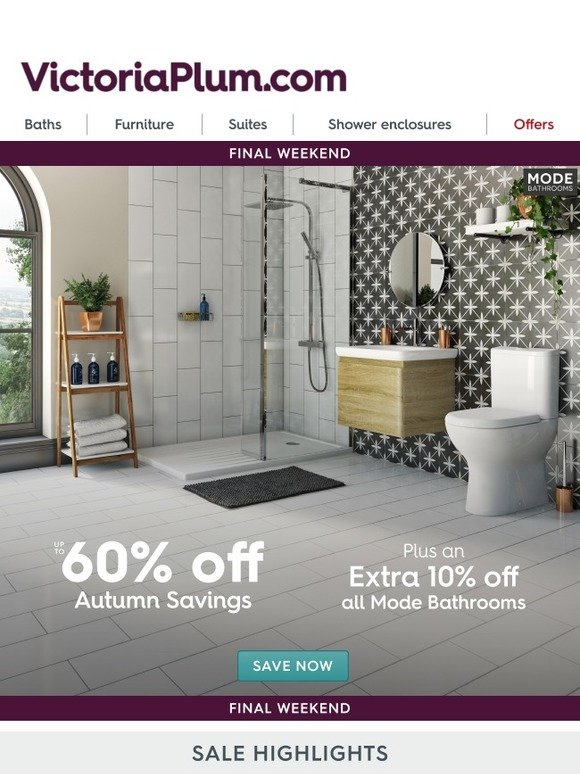 Victoria Plumb: Final Weekend | Extra 10% Off ALL Mode Bathrooms | Milled